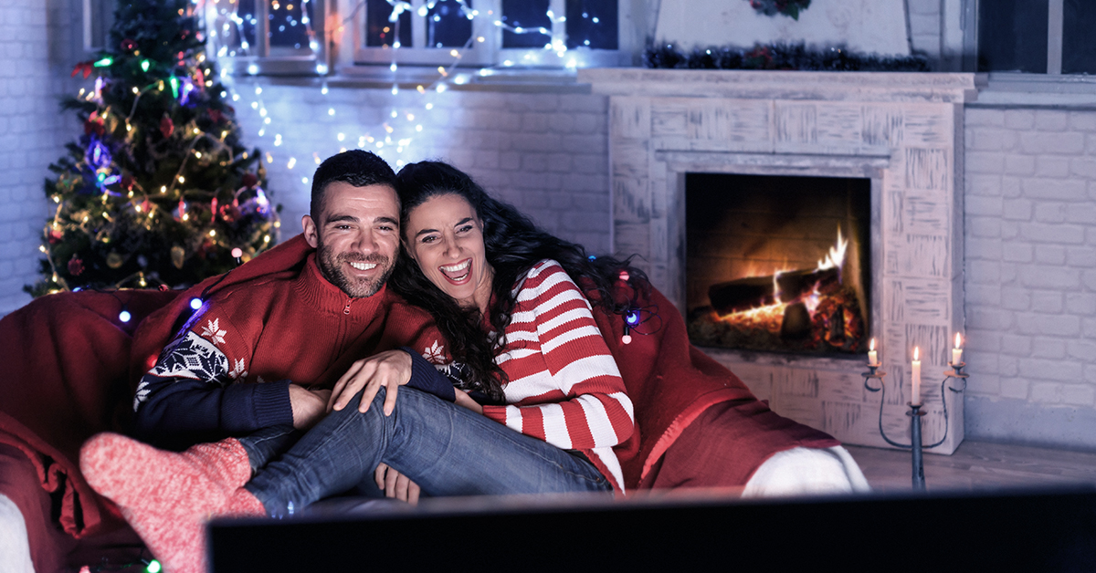 Couple watching holiday movies