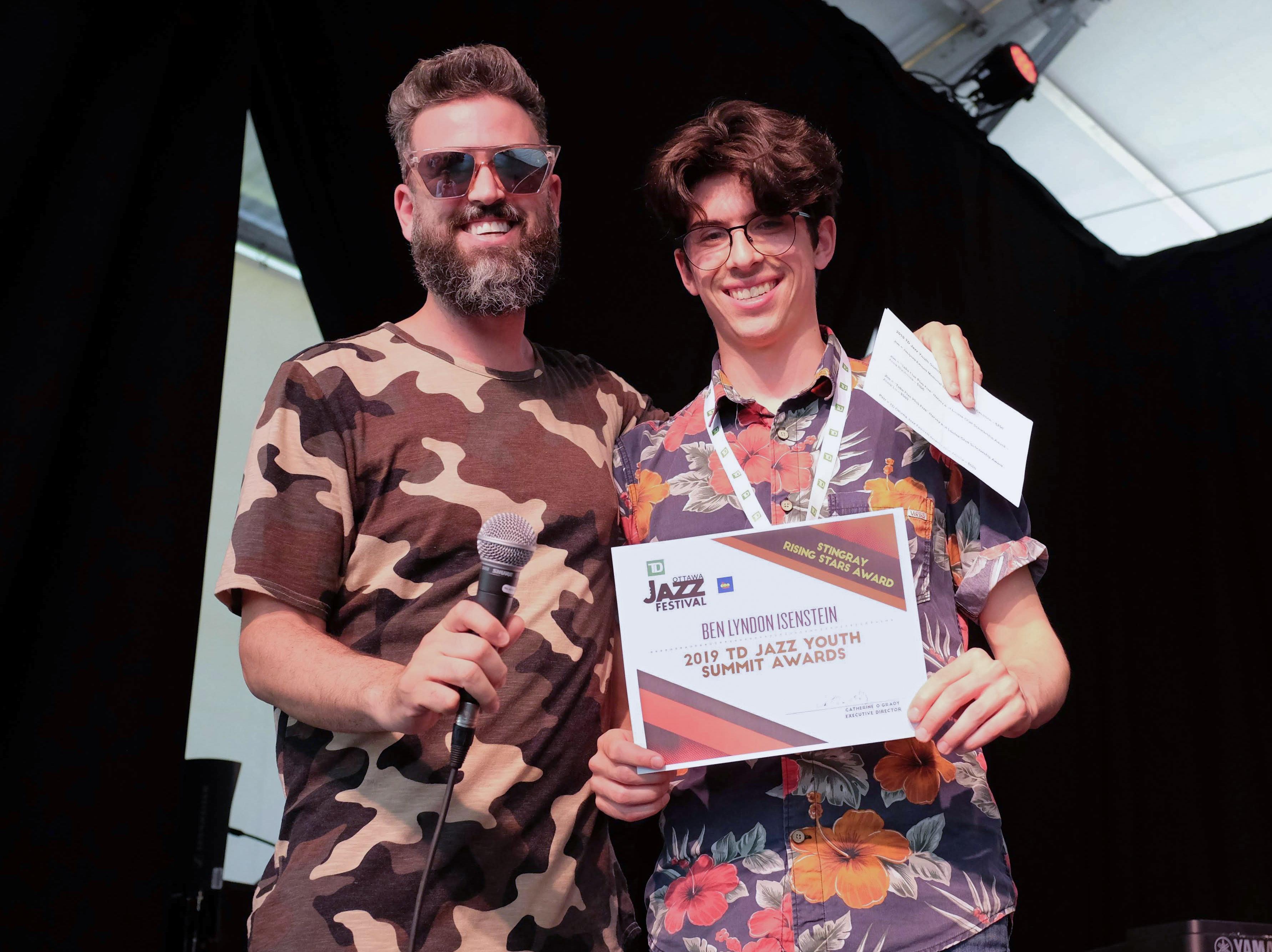 Zachary Monson with Stingray Rising Stars award winner Ben Lyndon Isenstein.