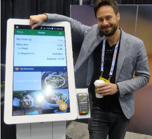Self-order kiosk at the Stingray Business Booth