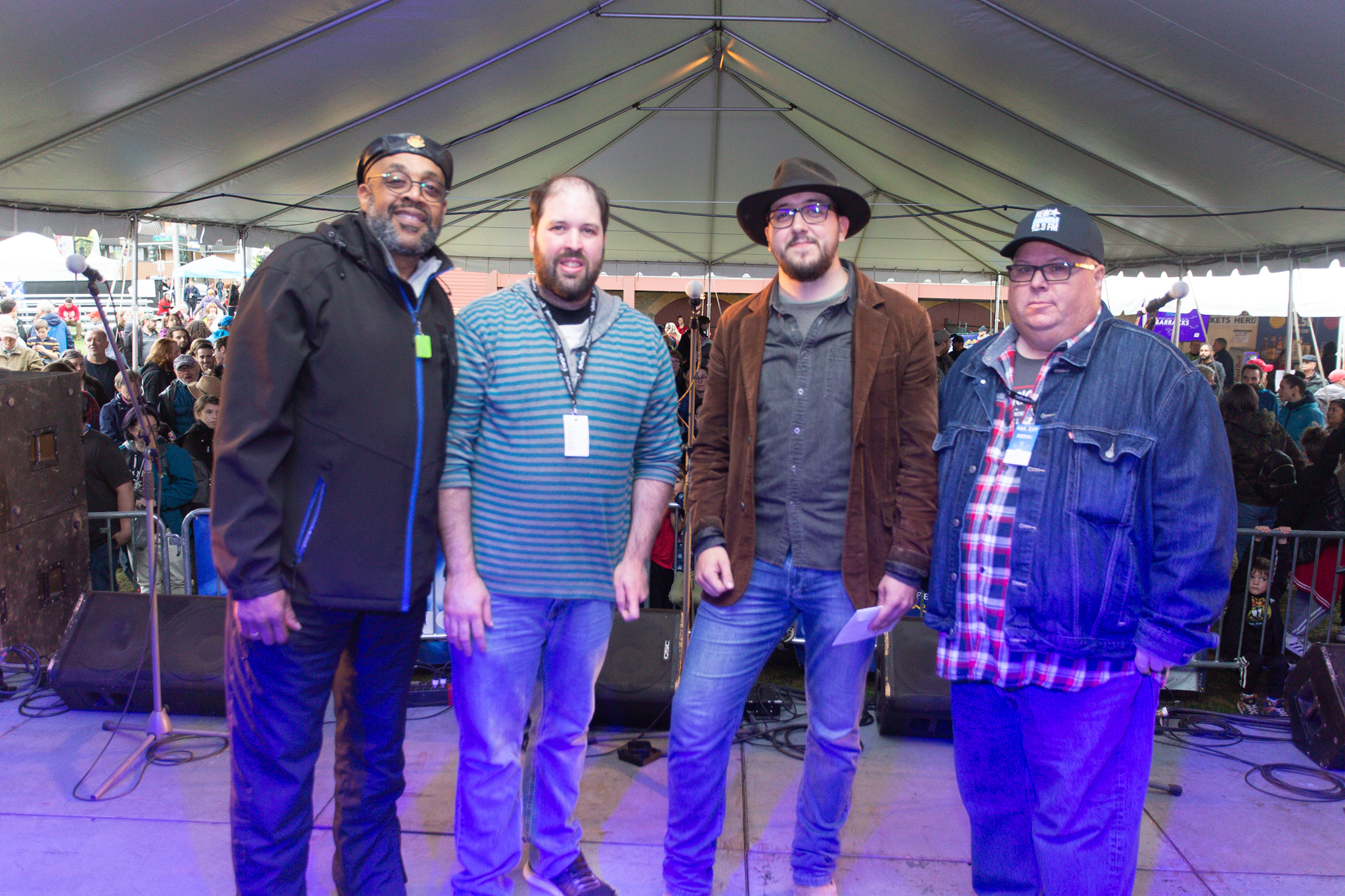 McKinley Morrison & Williams (Josh McKinley, John Morrison & Darrell Williams) with Stingray's Kenton Dunphy (New Country 92.3 (CFRK) and UP 93.1 FM (CIHI) - Photo redits: James West.