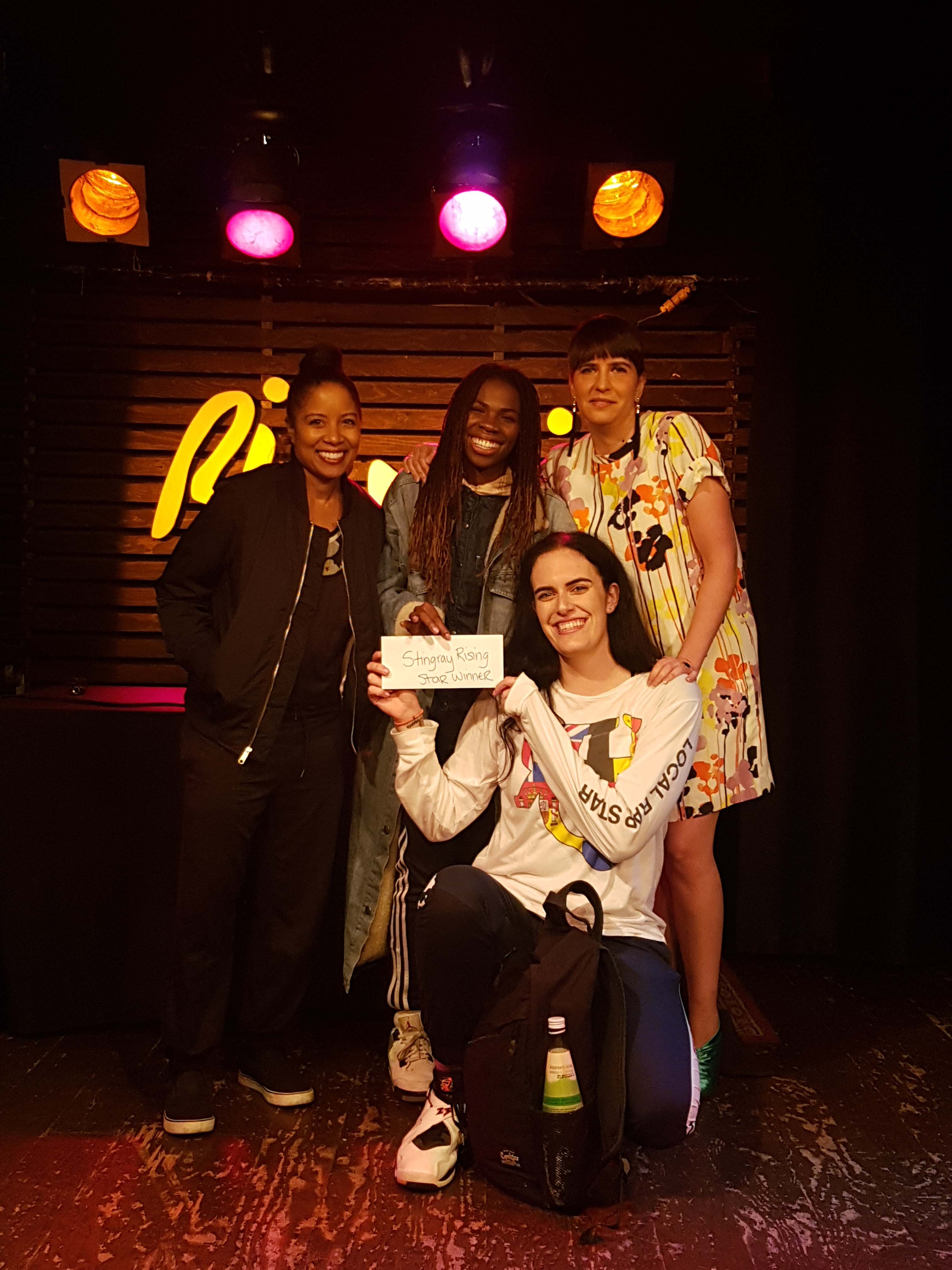 Bev Moore (Music Ontario), haviah mighty (The Sorority), Ariane Charbonneau (Stingray Music) and lex leosis (The Sorority).